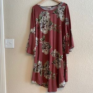 Deep Pink Floral Dress with Pockets